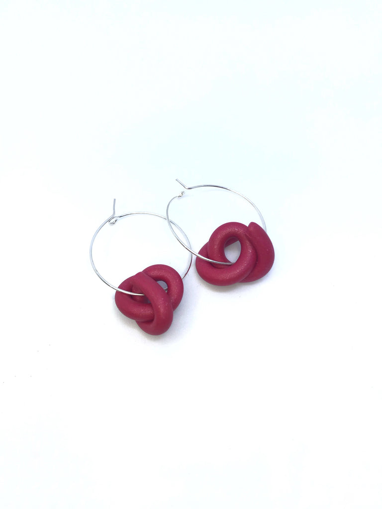 Red Swirl Hoops