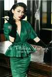 Le Palais Vintage -   Emerald Green Batwing Sleeve Skirt Set With Wrap Jacket