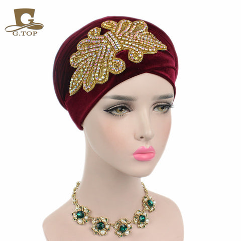 1940's Chic Crystal Jeweled Velvet Turban Head Wrap  - 14 Colors!