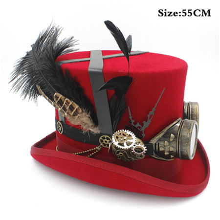 100% Wool Steampunk Top Hat In Red, White or Black With Feathers and Goggles