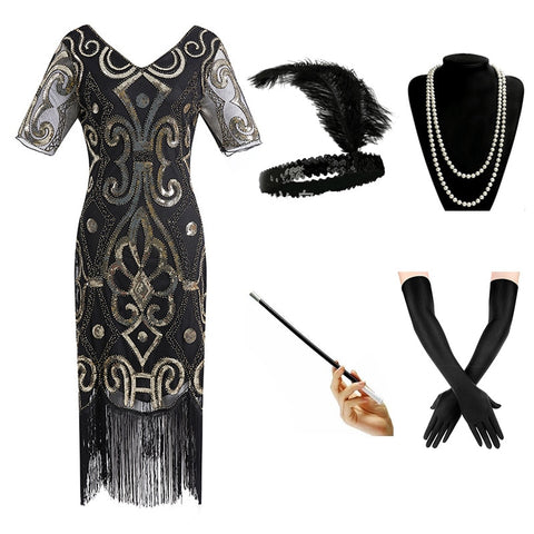 1920s Gatsby Sequin Beaded Fringed Paisley Flapper Vintage Dress