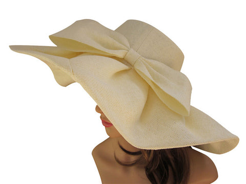 Linen Kentucky Derby Wide Brim Sun Hat With Big Bow