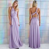 Grecian Convertible V Neck Full Length Chiffon Wrap Maxi Dresses - 12 Styles and Colors.