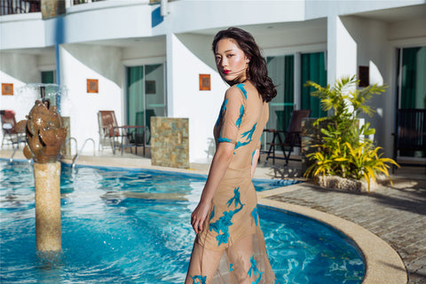 Summer Celebrity Embroidery Mesh Beach Maxi Dress - The Mermaid Dress