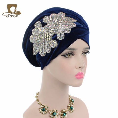 1940 s Chic Crystal Jeweled Velvet Turban Head Wrap - 14 Colors ... 9e64af9b577