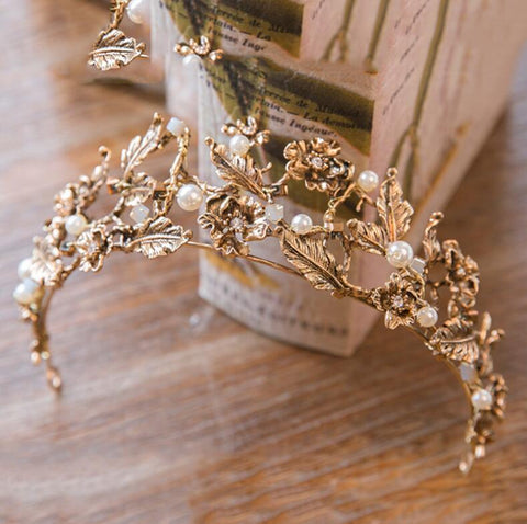 Vintage Inspired Golden Tiara Baroque Crown  - For Brides or Bridal Parties