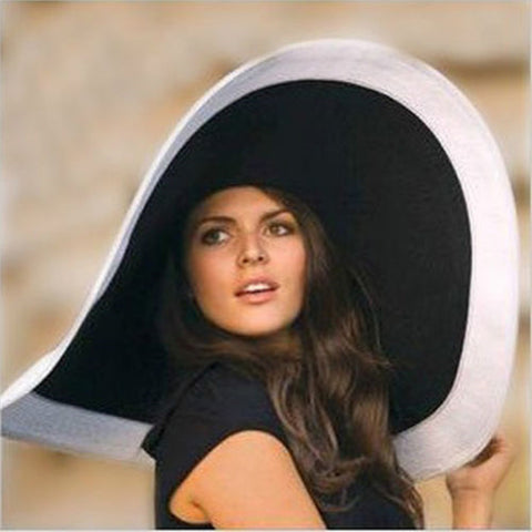 Grace Kelly inspired - Black and White Wide Brim Floppy Hat For The Derby Or Glamorous Sunbathing