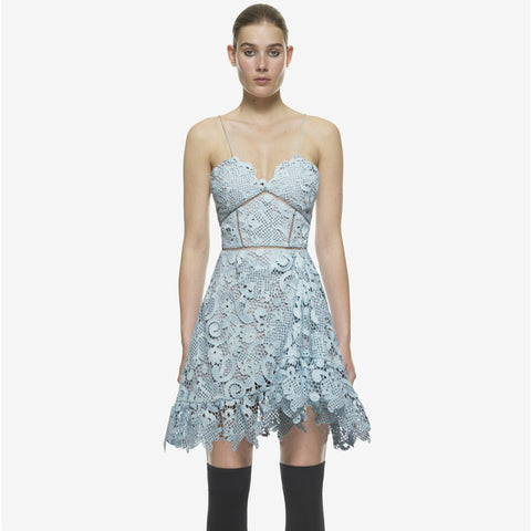 Sky Blue Heaven Mini Lace Dress