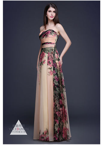 Formal Strapless High Waist Vintage Maxi Dress: Wedding, Evening, Prom, or Formal