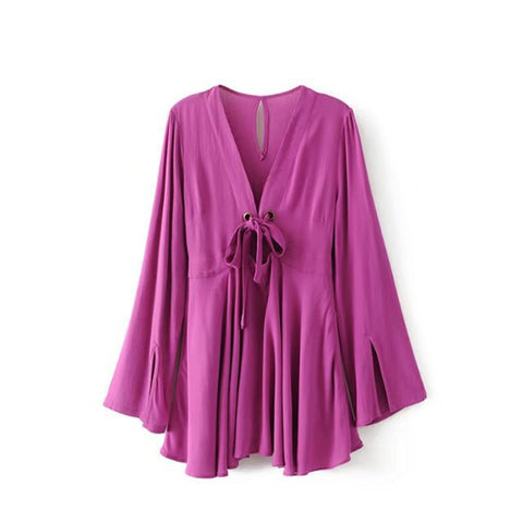 "Le Palais Vintage ""Purple Passion"" Mini Dress With Flare Sleeves"