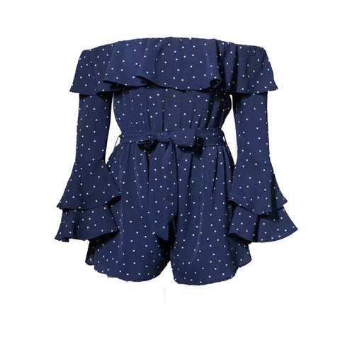 Le Palais Vintage's Splashy Spring  Ruffle Romper Polka Dot Playsuits in Blue or White