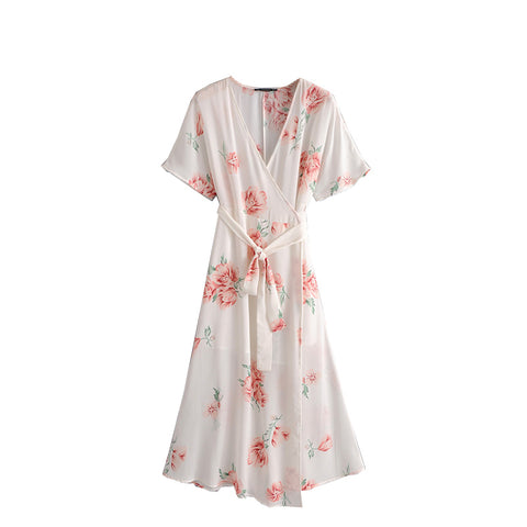 Le Palais Vintage Cool Summer Chiffon Floral Printed Long Dress