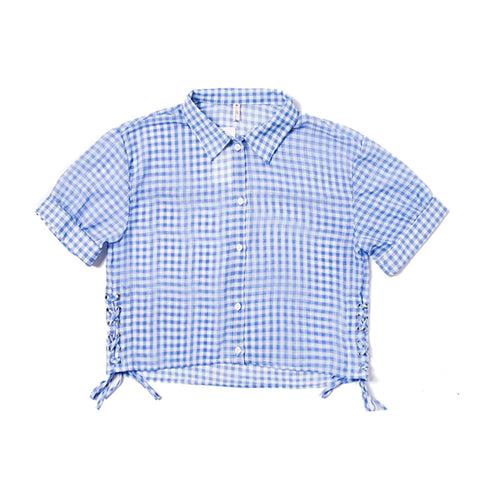 Le Palais Vintage's French Loose Short Shirt Blue White Plaid One Size Fits All