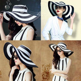 Striped Black and White Wide Brim Floppy Elegant Statement Hat