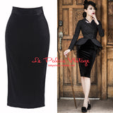 Le Palais Vintage - 1950s Black Velvet High Waist Wiggle  Pinup Pencil Skirt