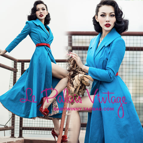 Le Palais Vintage (limited edition) Robin's Egg Blue X- Long Trench Coat