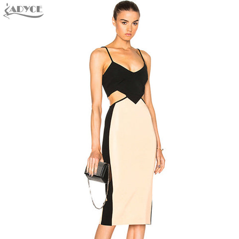 ADYCE - Chic Contrast Color Backless Cutout Out Runway Dress