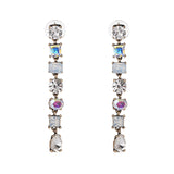 Statement Multicolored Crystal Long Tassel Earrings