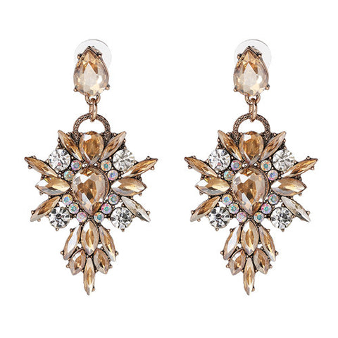 BIG Bohemia Crystal Earrings - 3 colors:Multi, White, Gold