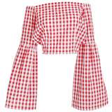 Le Palais Vintage -  1950's Red Gingham Boat Neck Flare Sleeve Crop Top, With Back Tie Closure: XS - 4 XL