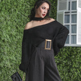 Le Palais Vintage - Off Shoulder Halter Faux Mink Knitted Sweater: Black or White - One Size Fits All!