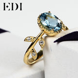 EDI Classics - Natural Blue Topaz Rings of Sterling Silver with 18 K Gold! BEAUTY (sizes 5 - 8.5)