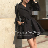Le Palais Vintage - The Alfred Hitchcock -  Noir Double Breasted Swing Trench Coat