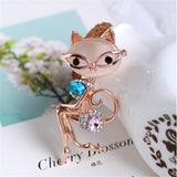French Chic Opal Cat Brooch with Rhinestones