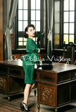 Le Palais Vintage -   Matte Green Batwing Sleeve Skirt Set With Wrap Jacket