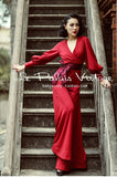 Chic Crimson Lantern Sleeved Wide Leg Jumpsuit -For The Holidays