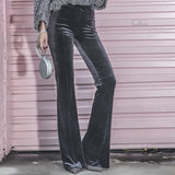 Le Palais Vintage - 1970s Velvet, High Waist, Flared,  Dark Gray Pinup Pants