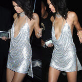 Kendal Jenner: Backless Sequin Mini Dress