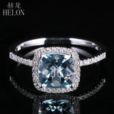 HELON  Square Cut 1.2ct Aquamarine 0.2ct Diamonds 10K White Gold Ring