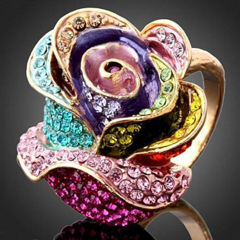 Crystal Tulip Flower Rings