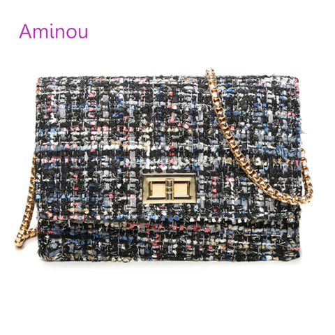 Aminou - Woolen Bags With Chain Shoulder Strap: 4 Colors: Coco Chanel wants one!