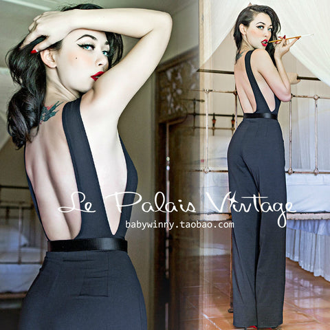 From Work To Wrecking It! Elegant & Sexy Black Side Exposed  Halter Jumpsuit