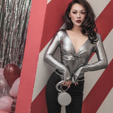 Le Palais Vintage Decadent Bodysuit Dripping In Silver