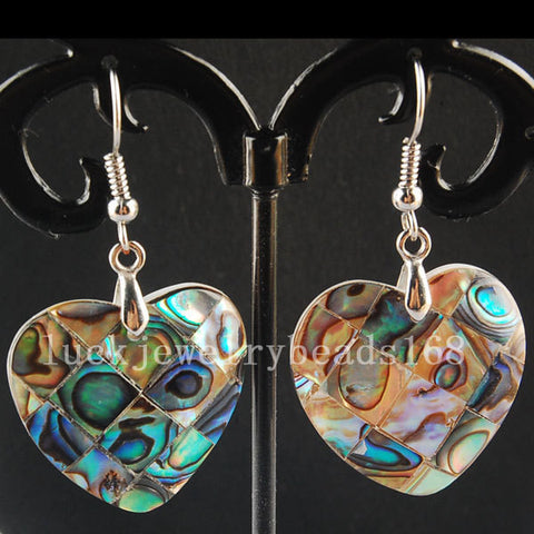New Zealand Blue Abalone Shell Heart Earrings