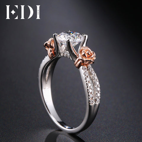 SALE: Add'l 35% off (Only 10 of EACH Size) EDI Rose Flower 14k Multi-tone Gold 1ct Moissanites Ring (sizes 4 - 12)