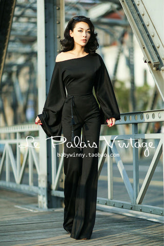 """You'll Never Want To Take This Off"" Exaggerated Siamese Sleeves Jumpsuit: Black"