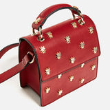 ARPIMALA - Red Honey Bee Stud Clutch Luxury Hand Bag or Purse
