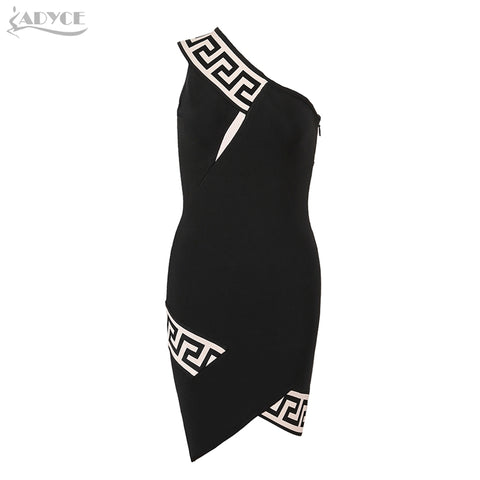 ADYCE - Black One Shoulder Geometric Print Bandage Dress  - Celebrity Evening