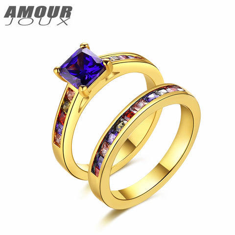 AMOUROUX (2pcs )White/Gold Mulit-Color Band Rings Set In Sizes 6,7,8 - (2 styles)