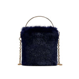 ARPIMALA - Deep Blue Fur Bucket Clutch Hand Bag With Chain Strap
