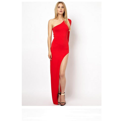 """You Brought Sexy Back""  Red High Split  Maxi Dress: 3 colors"