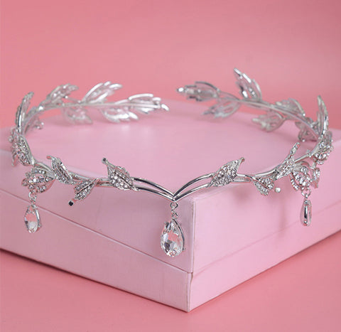 Crystal Crown Rhinestone Water Drop Leaf Tiara
