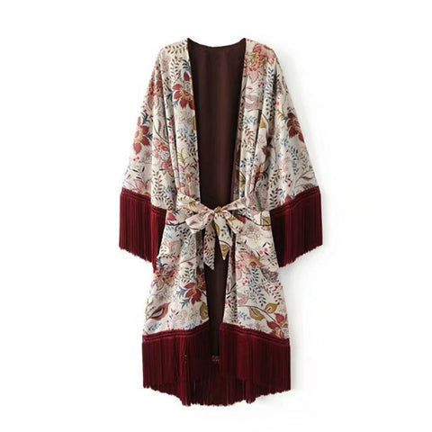 Le Palais Vintage Retro Belted Kimono Robe With Floral Print And Tassels - Flapper Style
