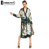 Everkaki - High Fashion Floral Leaf Print Kimono Jacket With Loose Belt And Batwing Sleeves