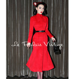 Le Palais Vintage Limited Edition 1940's, 50's Chinese Red Retro Elegant Cashmere Coat