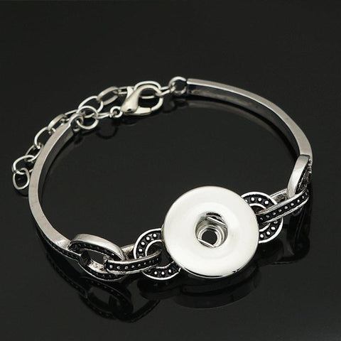 Snap It 18mm Punk Silver Metal Rhinestone Snap Bracelets - 16 Styles